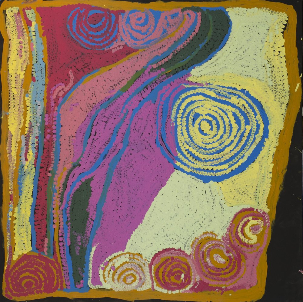 "NYARAPAYI GILES  Warmurrungu  54"" x 54"" (137 x 137 cm) Acrylic on Belgian linen Tjarlirli Artists catalog #15-471   EMAIL INQUIRY"