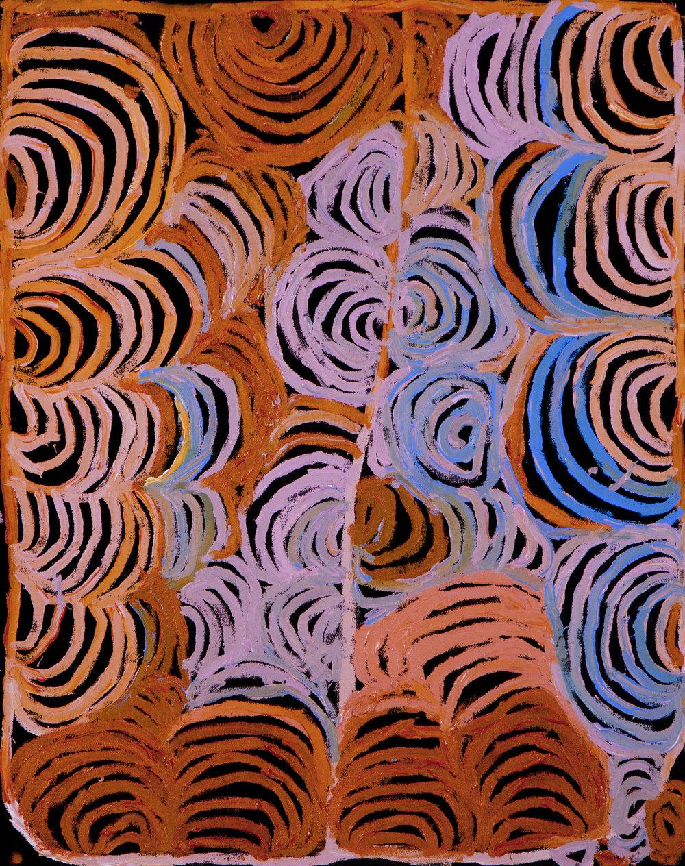 "NYARAPAYI GILES  Warmurrungu  29"" x 23.5"" (60 x 75 cm) Acrylic on Belgian linen Tjarlirli Artists catalog #12-253   EMAIL INQUIRY"