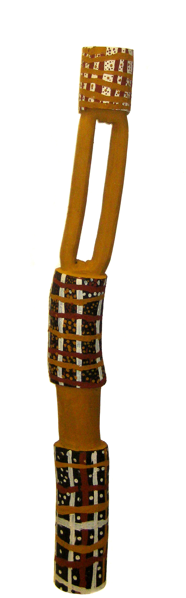 Kulama, 2011  natural earth pigments on ironwood 47inches (120 cm)   Jilamara Arts & Crafts Catalog #157-11     EMAIL INQUIRY