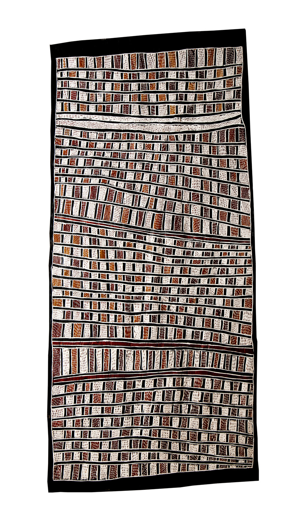 Nongirrnga Marawili  Fish Traps  Natural earth pigments on bark 167 x 79cm Buku Larrnggay Mulka #3118O   EMAIL INQUIRY