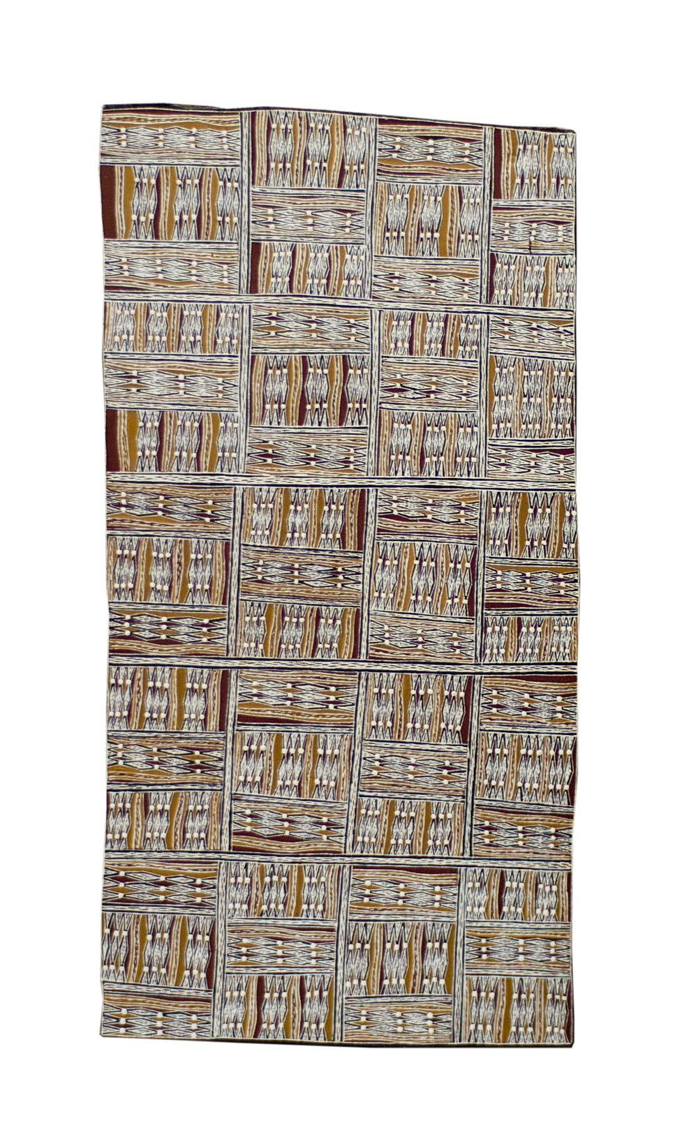 Rerrkirrwaŋa Munuŋgurr   Untitled  Natural earth pigments on bark 56 x 23 cm  Buku Larrnggay Mulka #4096H   EMAIL INQUIRY