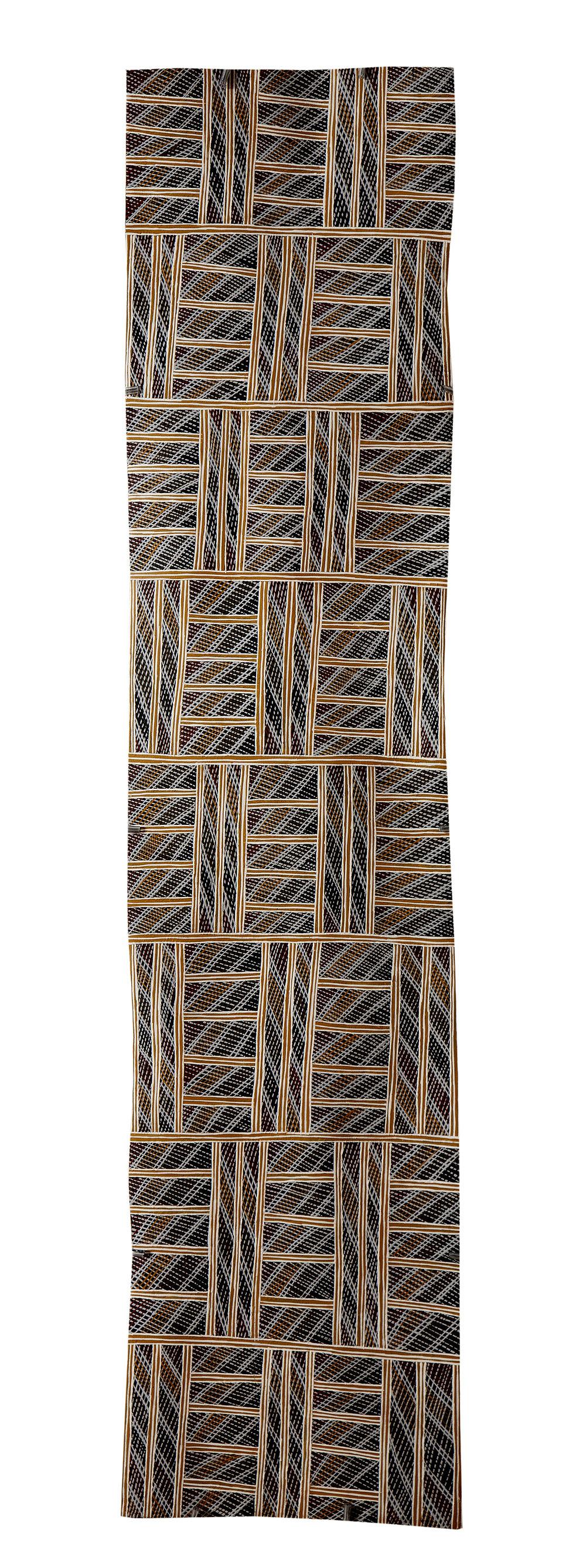 Djurrayun Murrinyina   Untitled  Natural earth pigments on bark 116 x 26 cm Buku Larrnggay Mulka #4061U   EMAIL INQUIRY