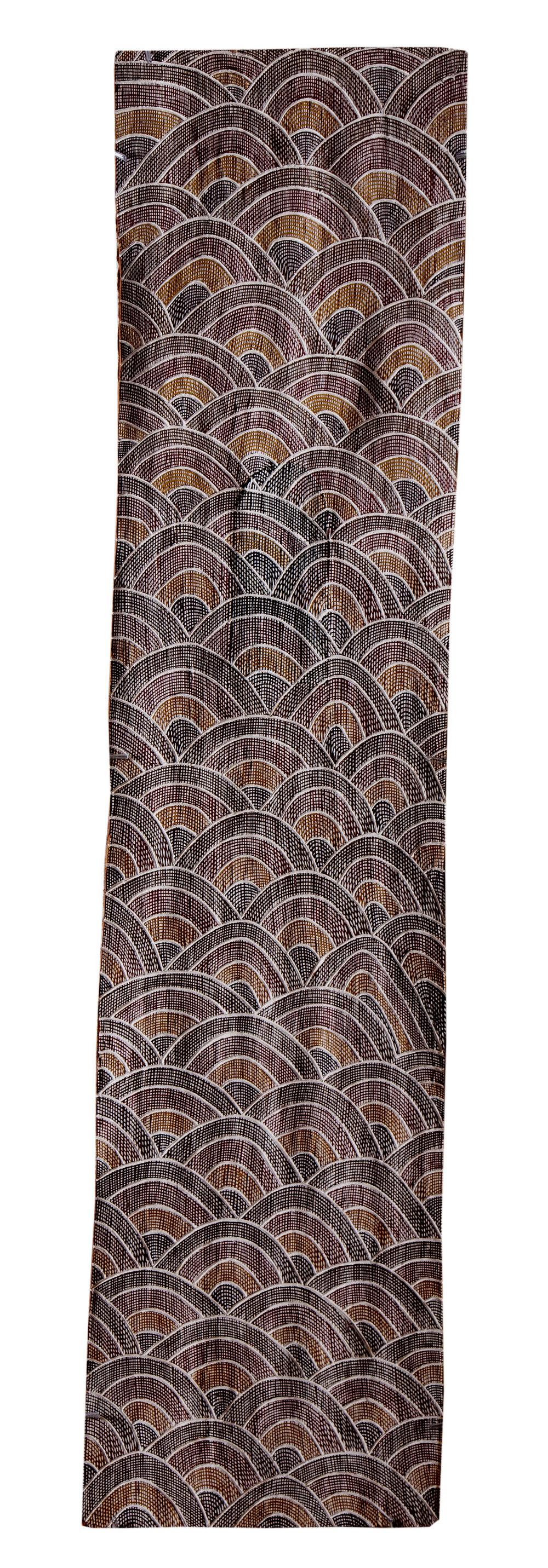 Dhurrumuwuy Marika   Untitled  Natural earth pigments on bark 140 x 34cm  Buku Larrnggay Mulka #4016D   EMAIL INQUIRY