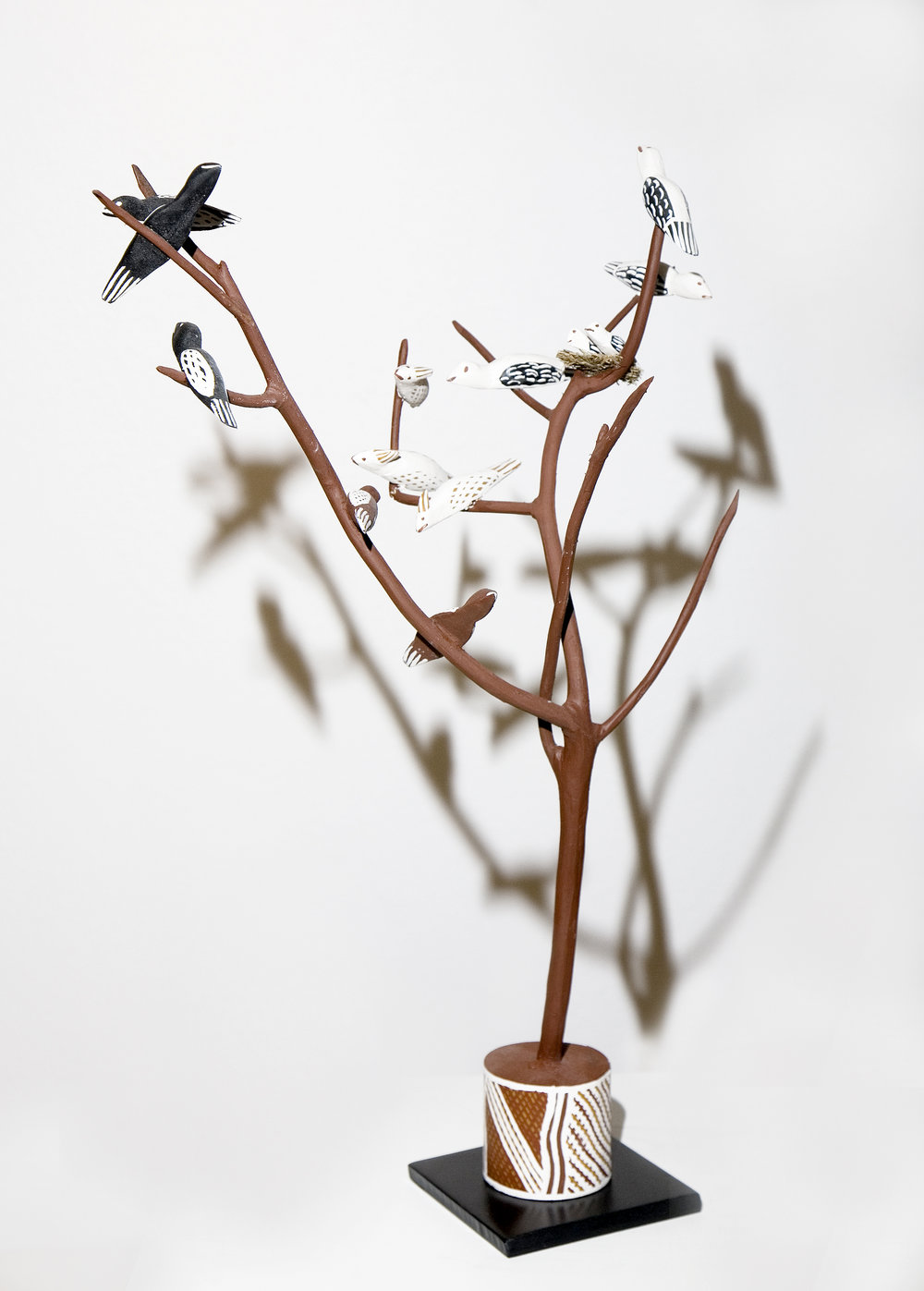 Naminapu Maymuru-White  Bird Tree  Natural earth pigments on hibiscus 75 cm Buku Larrnggay Mulka #4265K   EMAIL INQUIRY