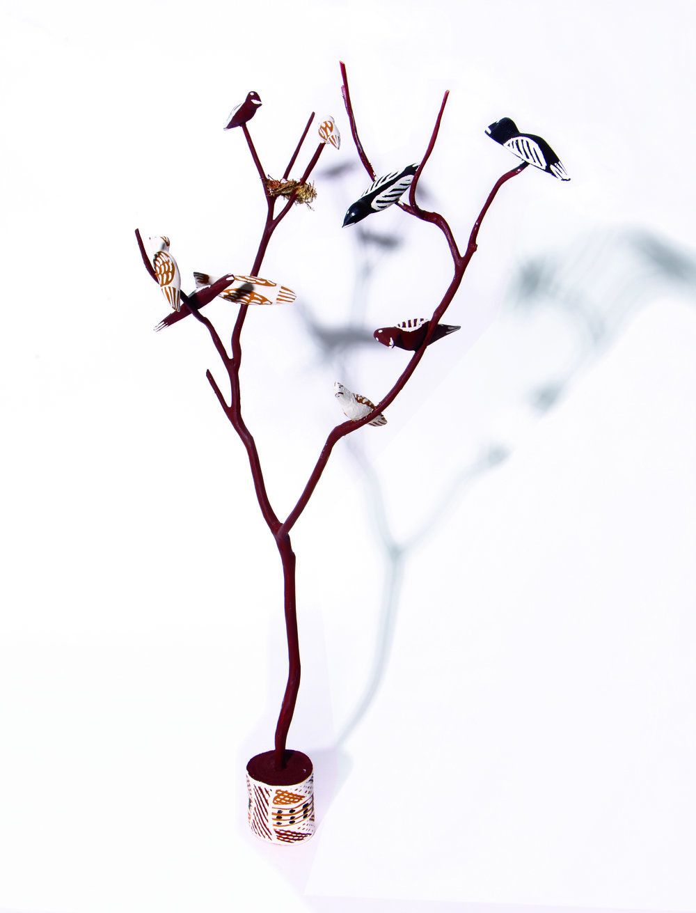 Naminapu Maymuru-White  Bird Tree  Natural earth pigments on hibiscus 75 cm Buku Larrnggay Mulka #4265O   EMAIL INQUIRY