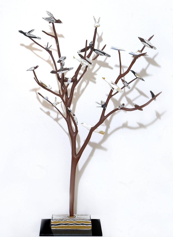 Naminapu Maymuru-White  Bird Tree  Natural earth pigments on hibiscus 100cm x 80 cm Buku Larrnggay Mulka #4285Q   EMAIL INQUIRY