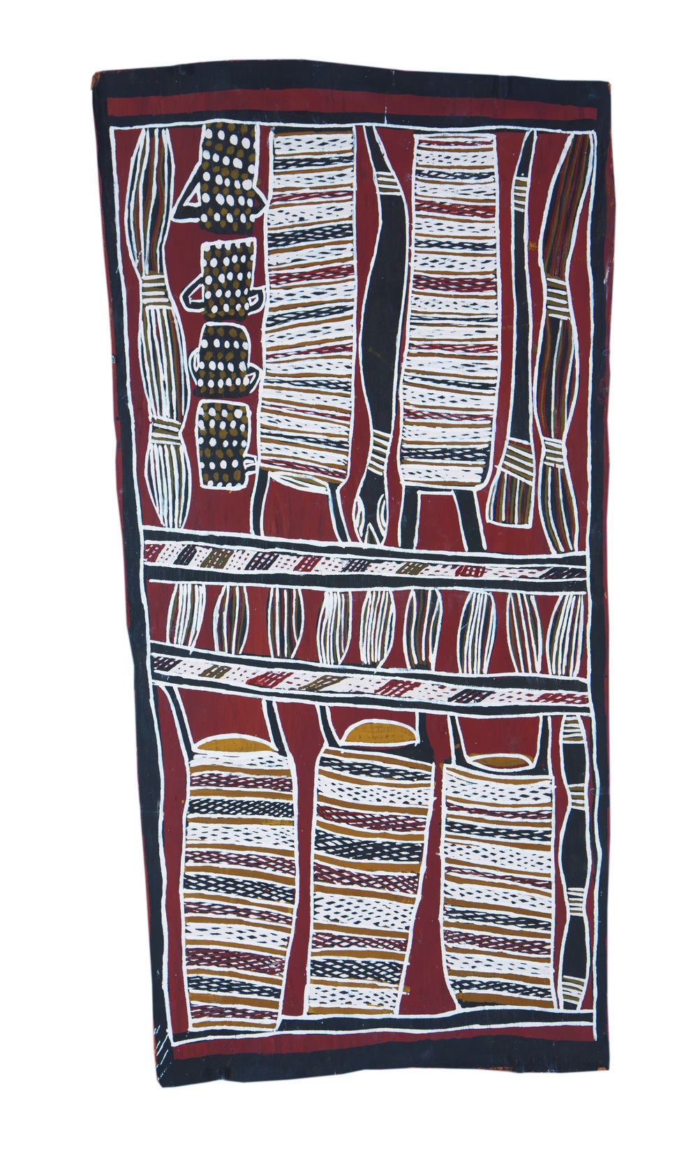 Nonggirrnga Marawili  Hunting  Natural earth pigments on bark 71 x 36cm  Buku Larrnggay Mulka #4049A   EMAIL INQUIRY