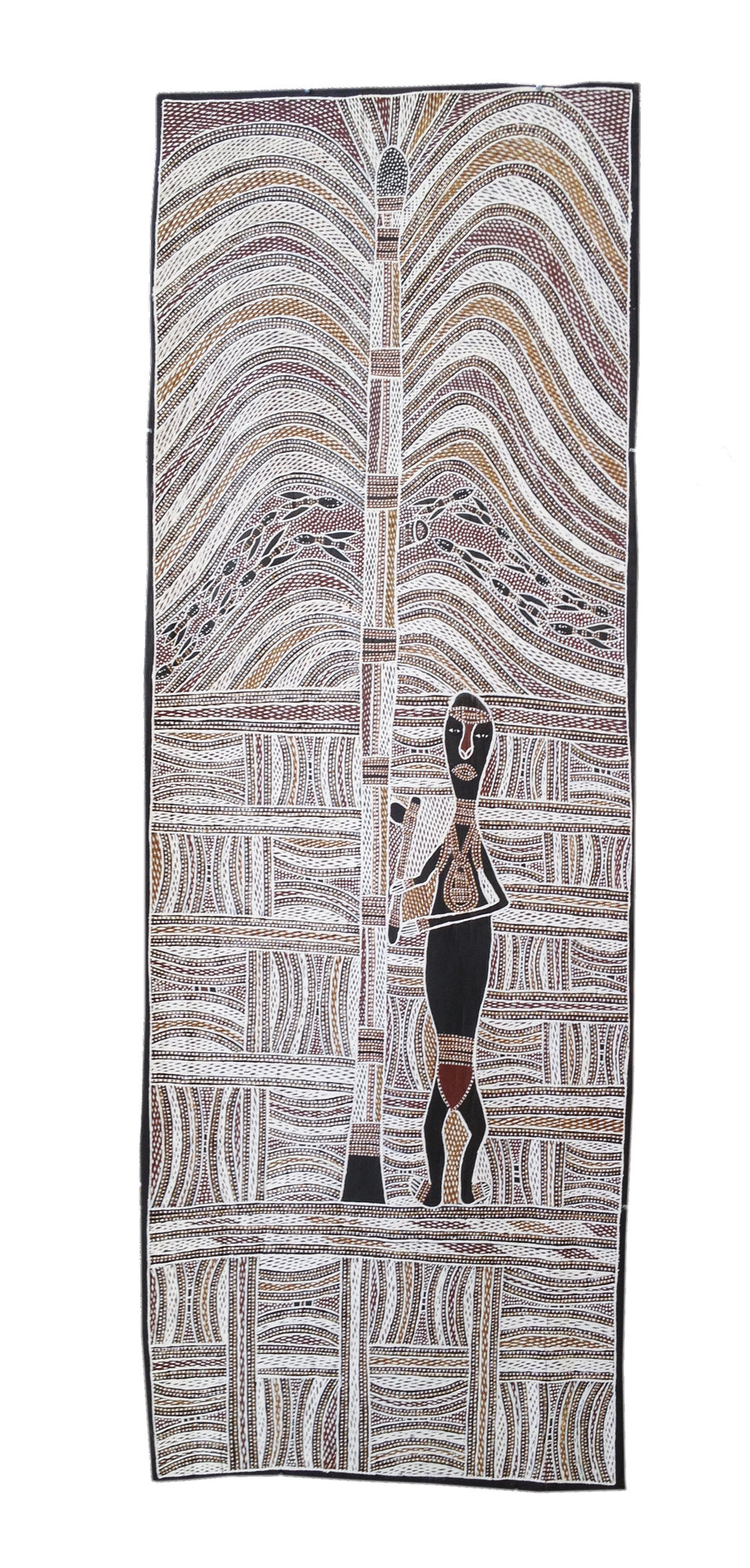 Wolpa Wanambi  Untitled  Natural earth pigments on bark 45 x 120cm  Buku Larrnggay Mulka #4375M   EMAIL INQUIRY