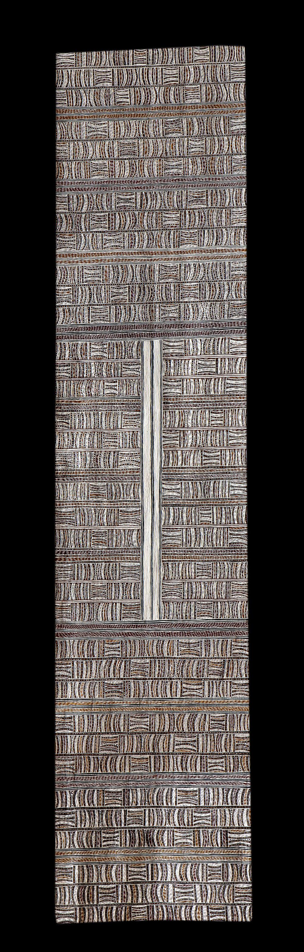 Guwaykuway Wanambi   Untitled  Natural earth pigments on bark 191 x 43cm  Buku Larrnggay Mulka #3979Z   EMAIL INQUIRY
