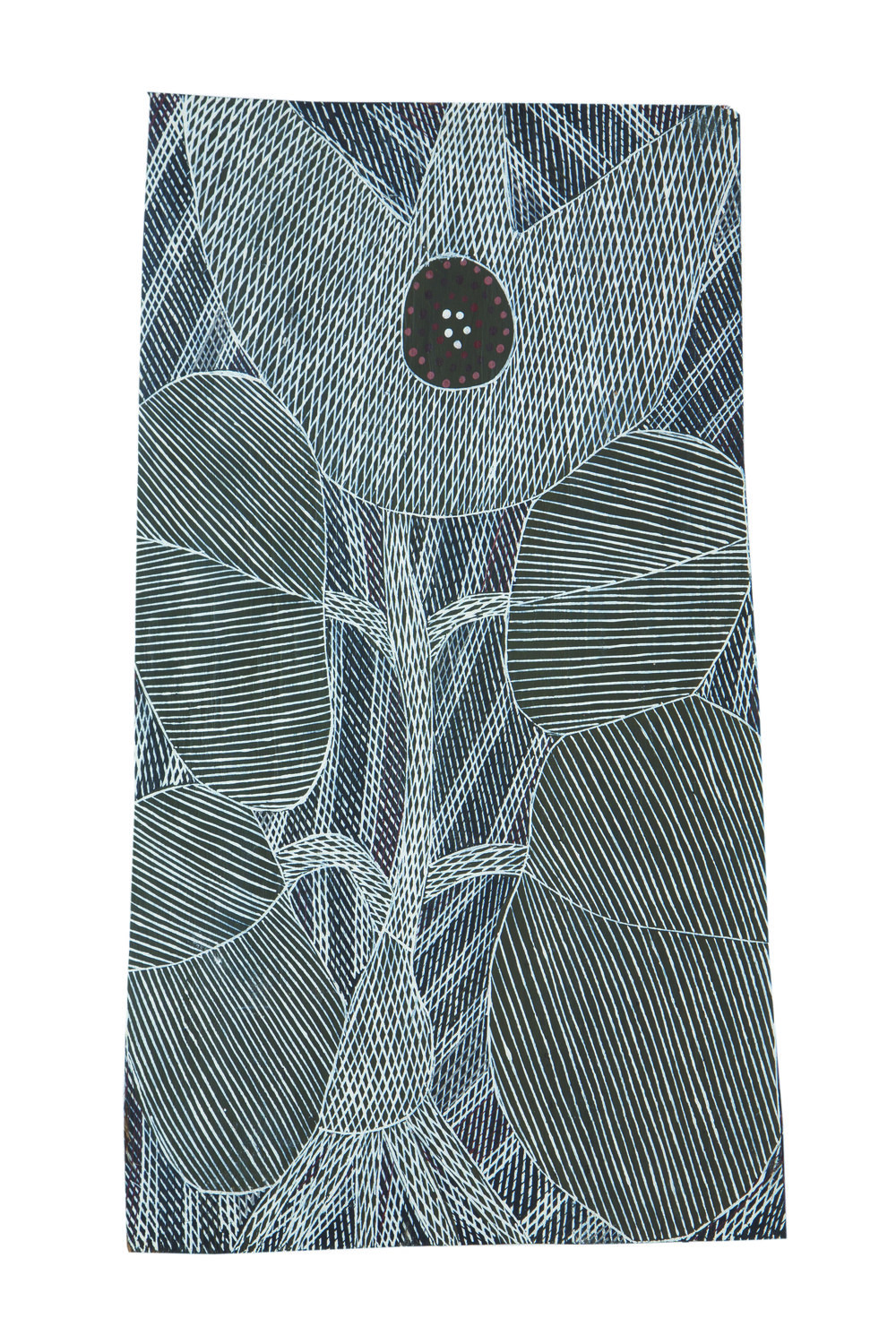 Malaluba Gumana  Dhatam Lily  Natural earth pigments on bark 23 x 17 cm Buku Larrnggay Mulka #4275A   EMAIL INQUIRY