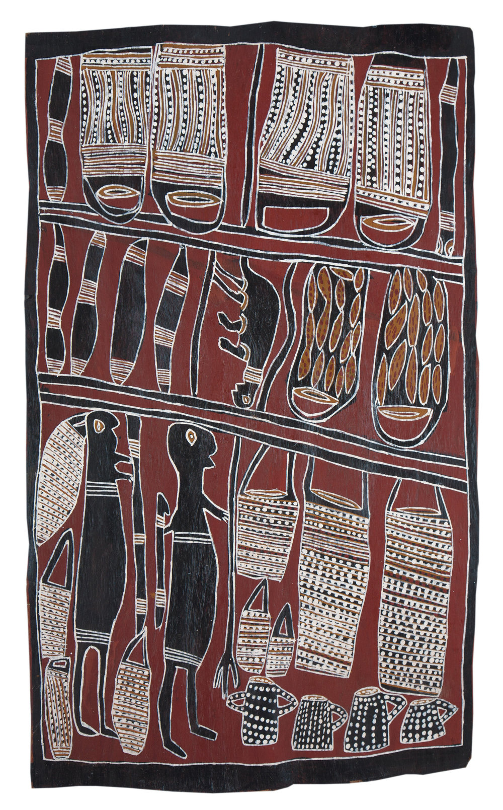 Nonggirrnga Marawili  Hunting  Natural earth pigments on bark 92 x 63cm  Buku Larrnggay Mulka #4044Q   EMAIL INQUIRY