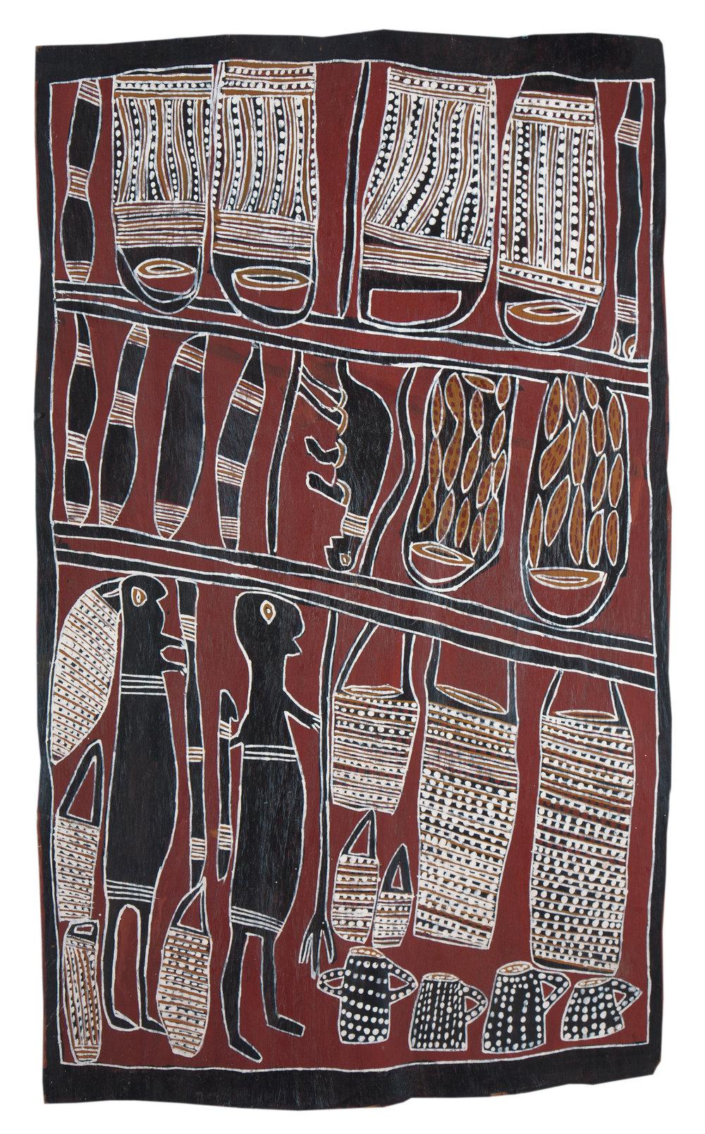 Nonggirrnga Marawili  Hunting  Natural earth pigments on bark 92 x 63cm  Buku Larrnggay Mulka #4044Q   EMAIL INQUIRY