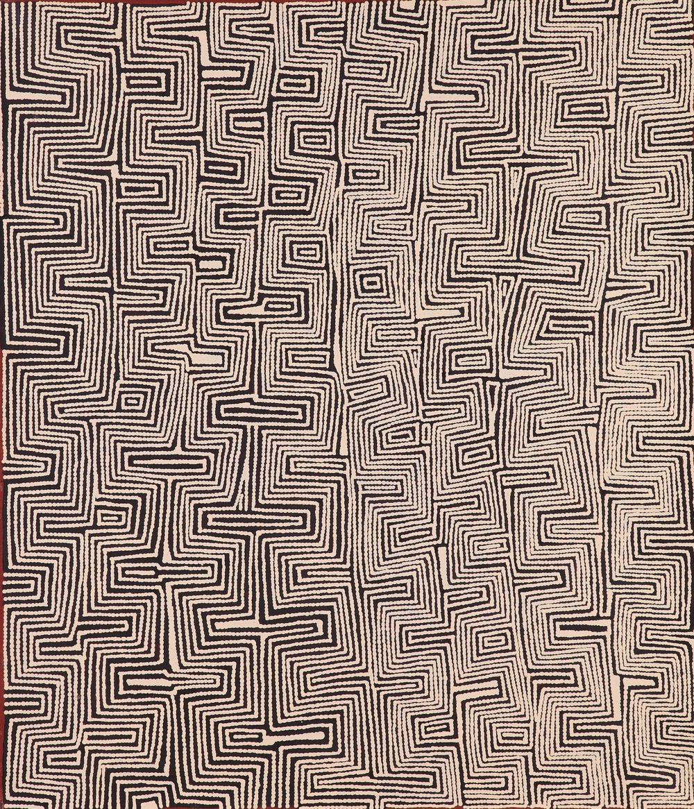 "Ray James Tjangala  Tingari men at Mukula, 2013  42"" x 36"" (107 x 91cm)  Acrylic on Belgian linen Papunya Tula Artists Catalog #RJ1305032   SOLD"