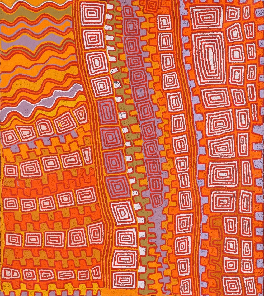 "Patrick Tjungurrayi  Kampurarrpa Dreaming at Kura, 2012  48 x 42"" (122 x 107cm) Acrylic on Belgian linen Papunya Tula Artists Catalog #PT1007091   EMAIL INQUIRY"