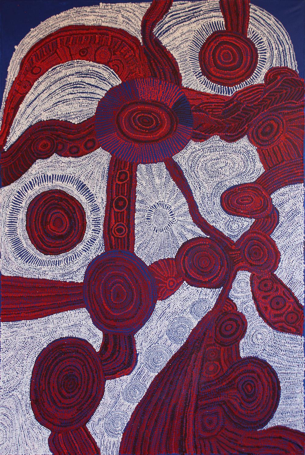 Betty Kuntiwa Pumani  Antara  40 x 72 inches (122 x 183cm) acrylic on linen Mimili Maku Arts Catalog #662-17   EMAIL INQUIRY