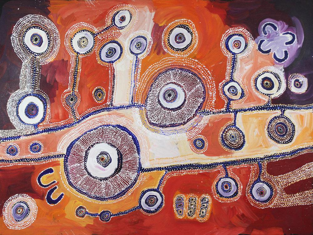 Tuppy Ngintja Goodwin   Antara  59.5 x 78 inches (200cm x 150cm) acrylic on linen Mimili Maku Arts Catalog #603-17   EMAIL INQUIRY
