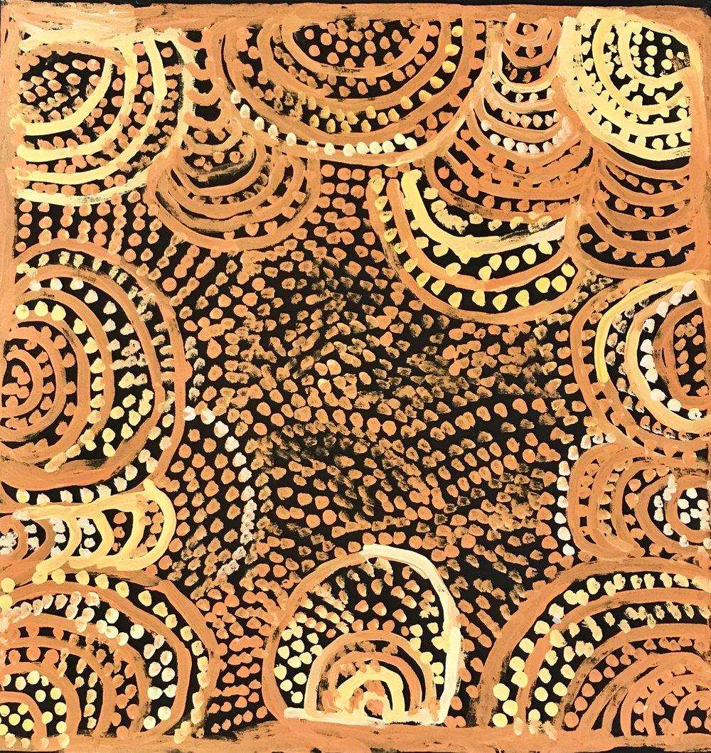 Milatjari Pumani  Antara  27 x 27 inches  ( 76 x 76cm) acrylic on linen Mimili Maku Arts Catalog #474-12   EMAIL INQUIRY