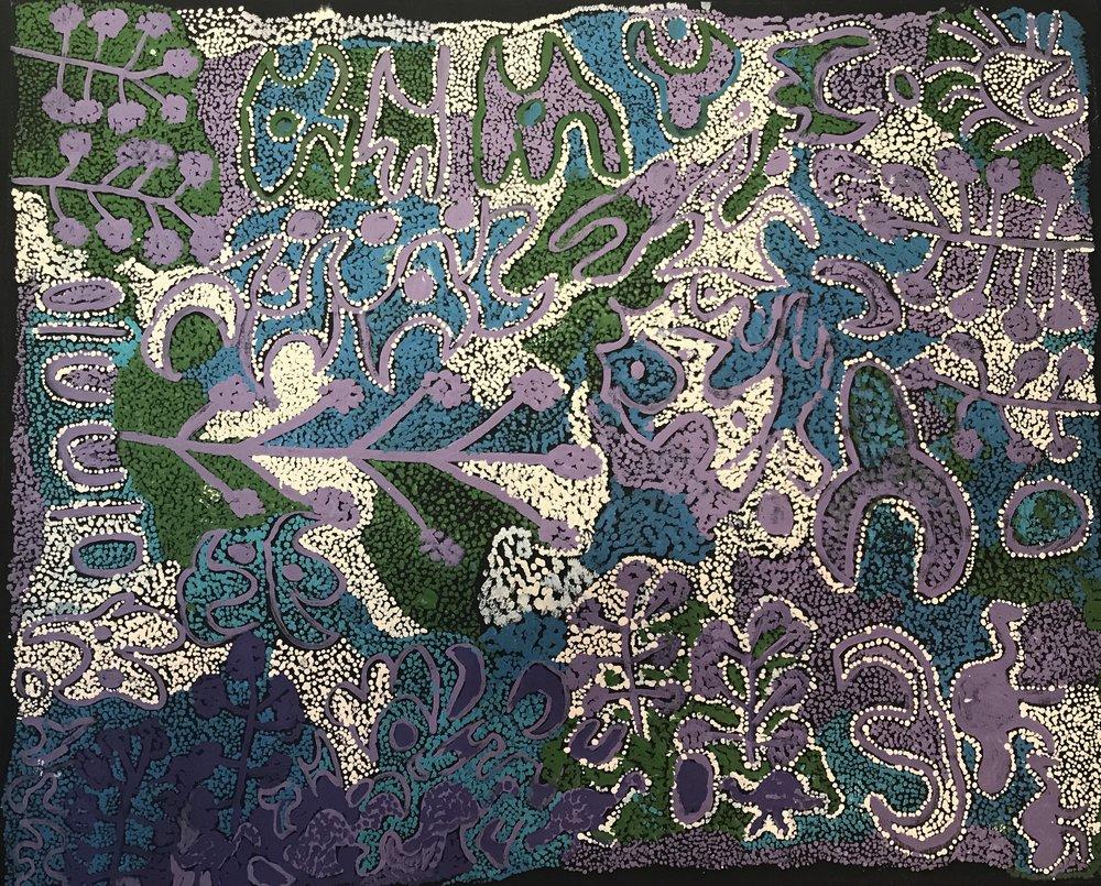 Kunmanara (Kathleen) Injiki Tjapalyi  Piritipalawa - Pretty Flower  43 x 36 inches (111cm x 91cm)  acrylic on linen Mimili Maku Arts Catalog #144-15   EMAIL INQUIRY