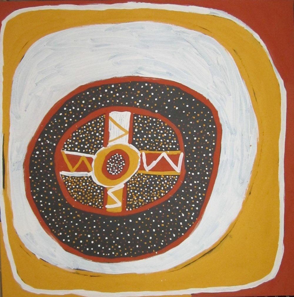 "TIMOTHY COOK  Kulama  Ocher on canvas 47 x 47 "" (120 x 120 cm) Jilamara Arts & Crafts Catalog #609-12   EMAIL INQUIRY"