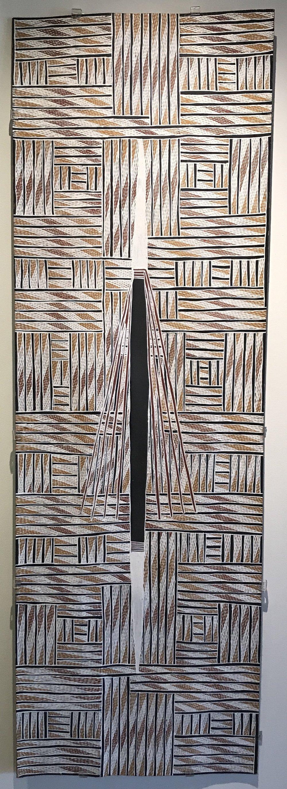 """BANDUK MARIKA  Mawalan  Natural earth pigment on bark 48"""" x 20.9"""" (148 x 41 cm)  Buku Catalog #2882N   EMAIL INQUIRY"""