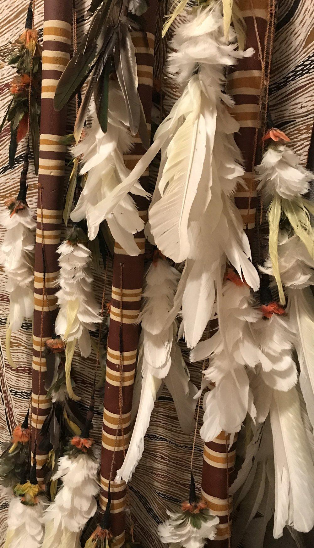 GALI YALKARRIWUY GURRUWIWI  1. Morning Star Pole (2207) 74 x 1 1/2 x 1 1/2 inches, Ochre, feathers, bush string & wax on wood  2. Morning Star Pole (2206) 77 x 1 1/2 x 1 1/2 inches, Ochre, feathers, bush string & wax on wood  3. Morning Star Pole (2208) 77 x 1 1/2 x 1 1/2 inches, Ochre, feathers, bush string & wax on wood   EMAIL INQUIRY