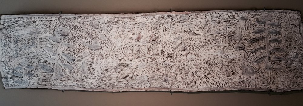 Nyapanyapa Yunupingu  Untitled, 2011  61 x 16 inches Natural earth pigments on bark Buku Catalog #4715S   EMAIL INQUIRY