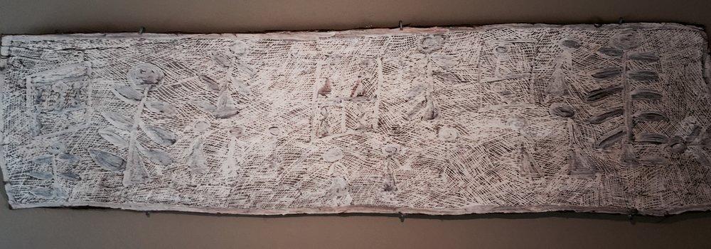Nyapanyapa Yunupingu  Untitled, 2011  61 x 16 inches Natural earth pigments on bark Buku Catalog #4715S   EMAIL INQUIRY
