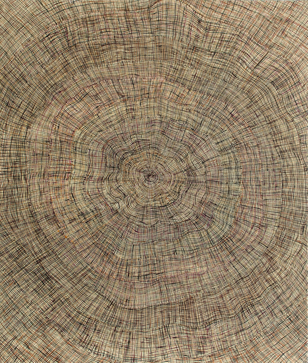 Regina Pilawuk Wilson  Syaw (Fish-net), 2019  Acrylic on Belgian linen 75 x 75 inches (200 x 200 cm) Durrmu Arts Catalog 11-19   EMAIL INQUIRY