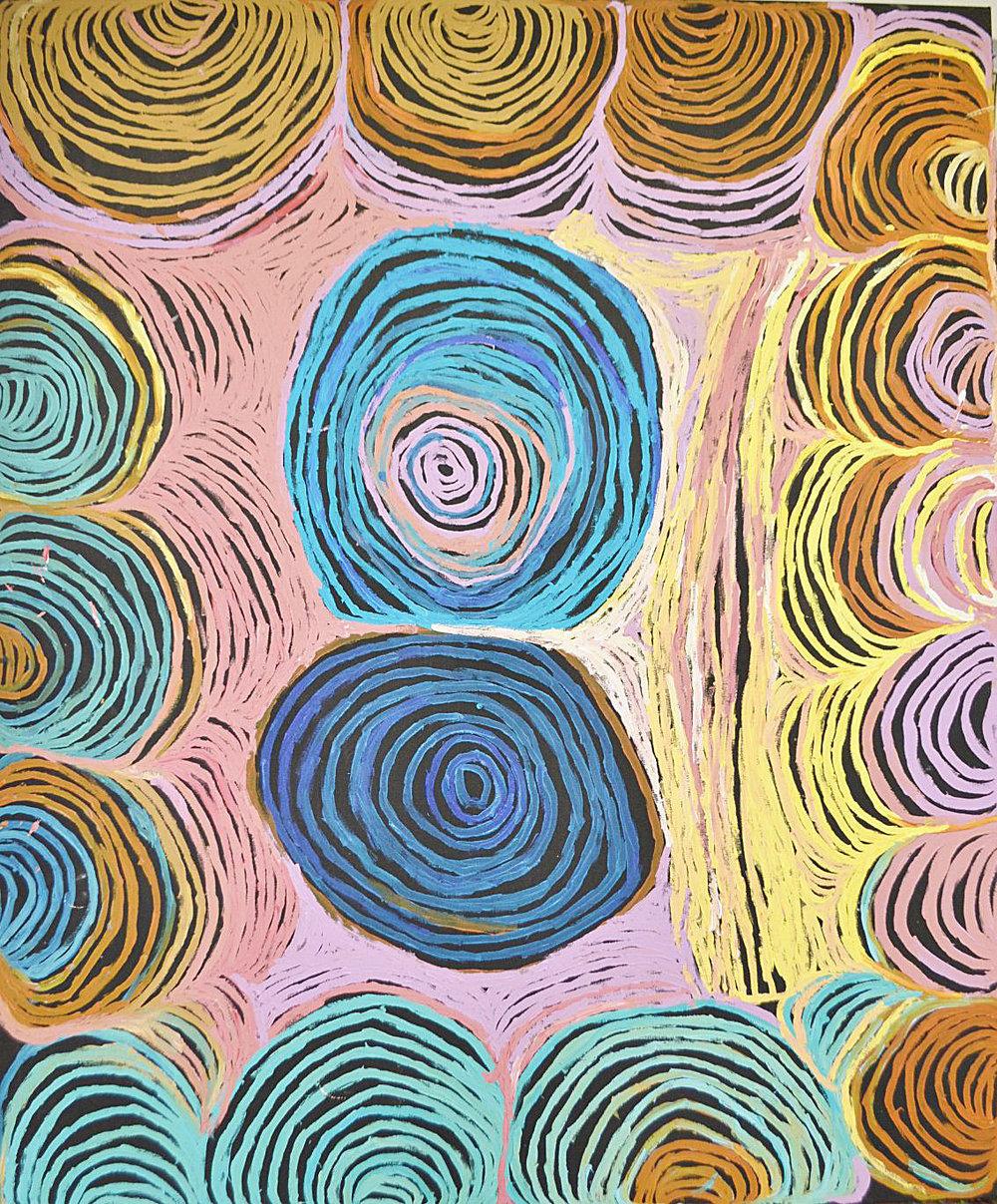 "NYARAPAYI GILES  Warmurrungu  59"" x 72"" (150 x 180 cm) Acrylic on Belgian linen Tjarlirli Artists catalog #12-306   EMAIL INQUIRY"