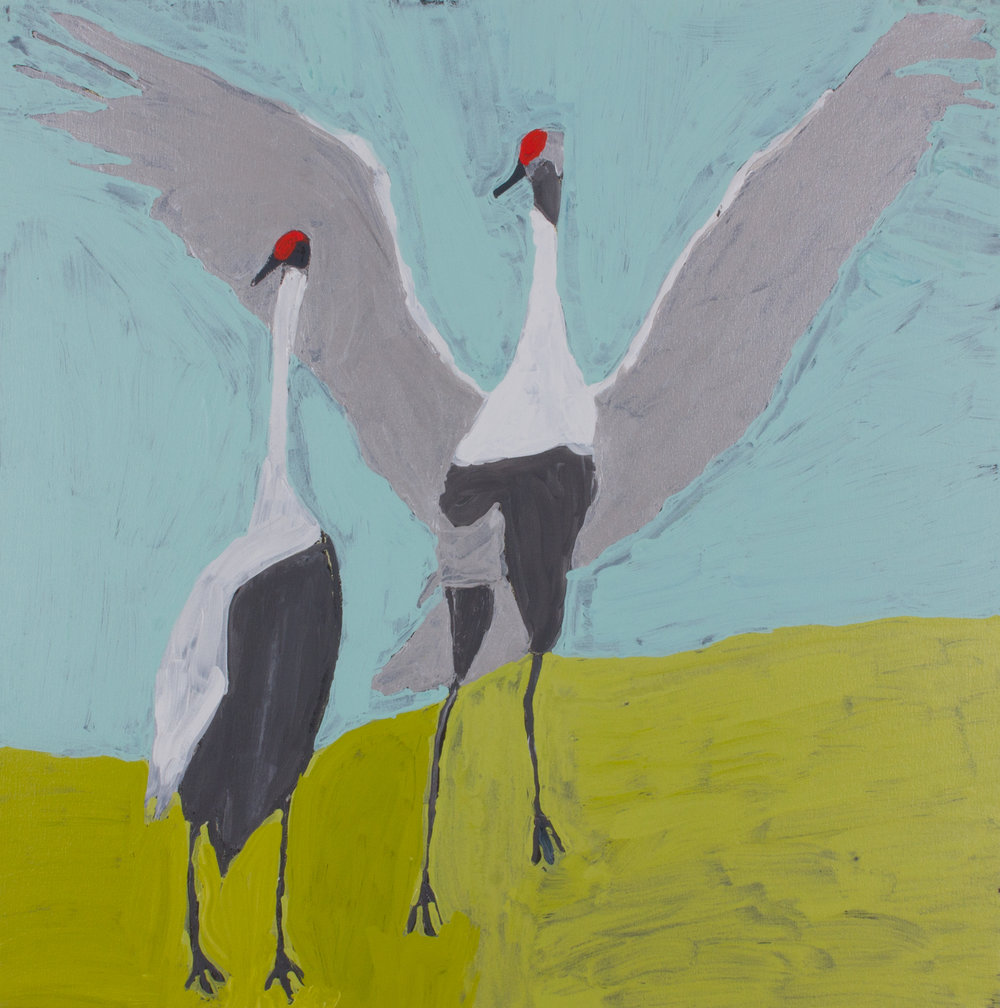 "Nyangulya Katie Nalgood  Brolga's Dancing  36 x 36"" (91.5 x 91.5 cm) acrylic on linen Spinifex Hills Artists Catalog #18-728  EMAIL INQUIRY"