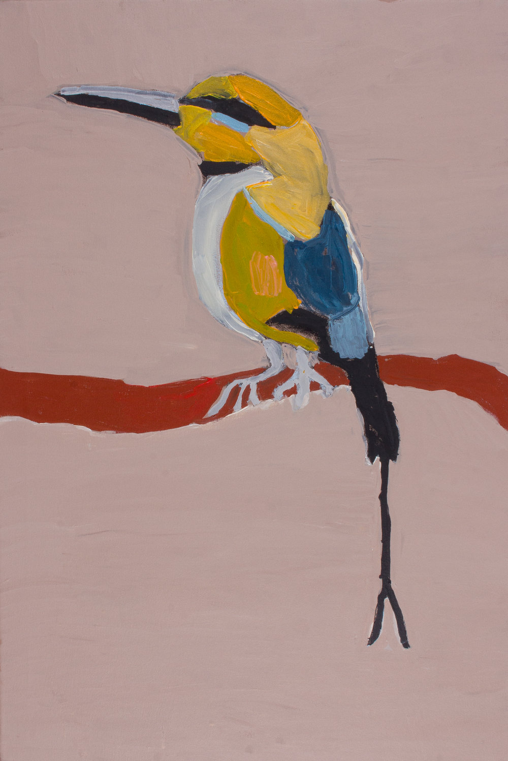 "Nyangulya Katie Nalgood  Rainbow Bee-eater  36 x 24"" (91.5 x 61.5 cm) acrylic on linen Spinifex Hills Artists Catalog #18-115   EMAIL INQUIRY"