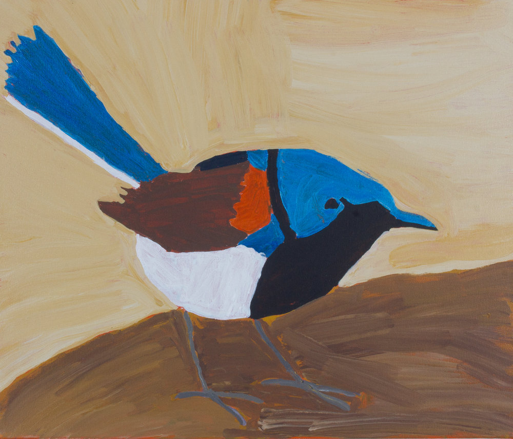 "Nyangulya Katie Nalgood  Fairy Wren  28 x 24"" (71 x 61 cm) acrylic on linen Spinifex Hills Artists Catalog #18-488   EMAIL INQUIRY"