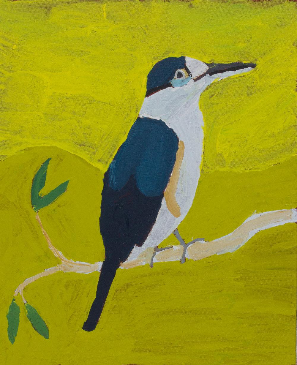 "Nyangulya Katie Nalgood  Kookaburra  22 x 18"" (56 x 45.5 cm) acrylic on linen Spinifex Hills Artists Catalog #18-469   EMAIL INQUIRY"