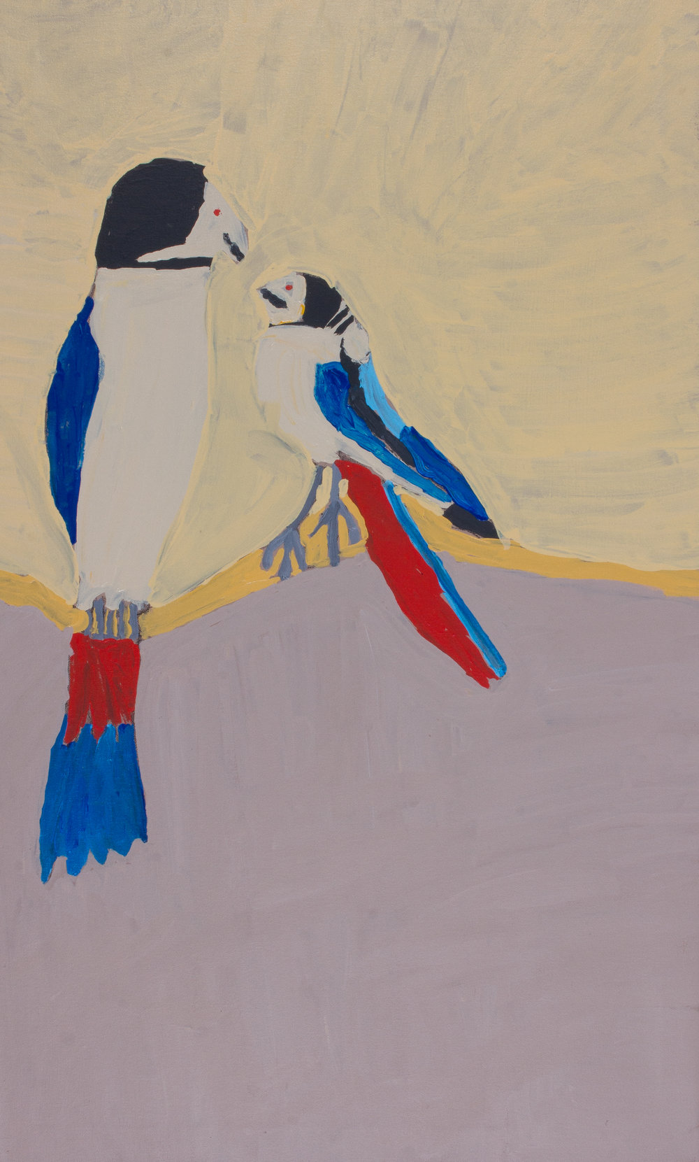 "Nyangulya Katie Nalgood  Northern Rosella  40 x 24 "" (101.5 x 61 cm) acrylic on linen Spinifex Hills Artists Catalog #18-199   EMAIL INQUIRY"