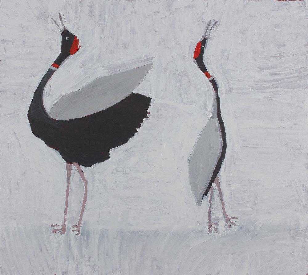 "Nyangulya Katie Nalgood  Brolga's Dancing  36 x 36"" (91.5 x 91.5 cm) acrylic on linen Spinifex Hills Artists Catalog #18-177  SOLD"