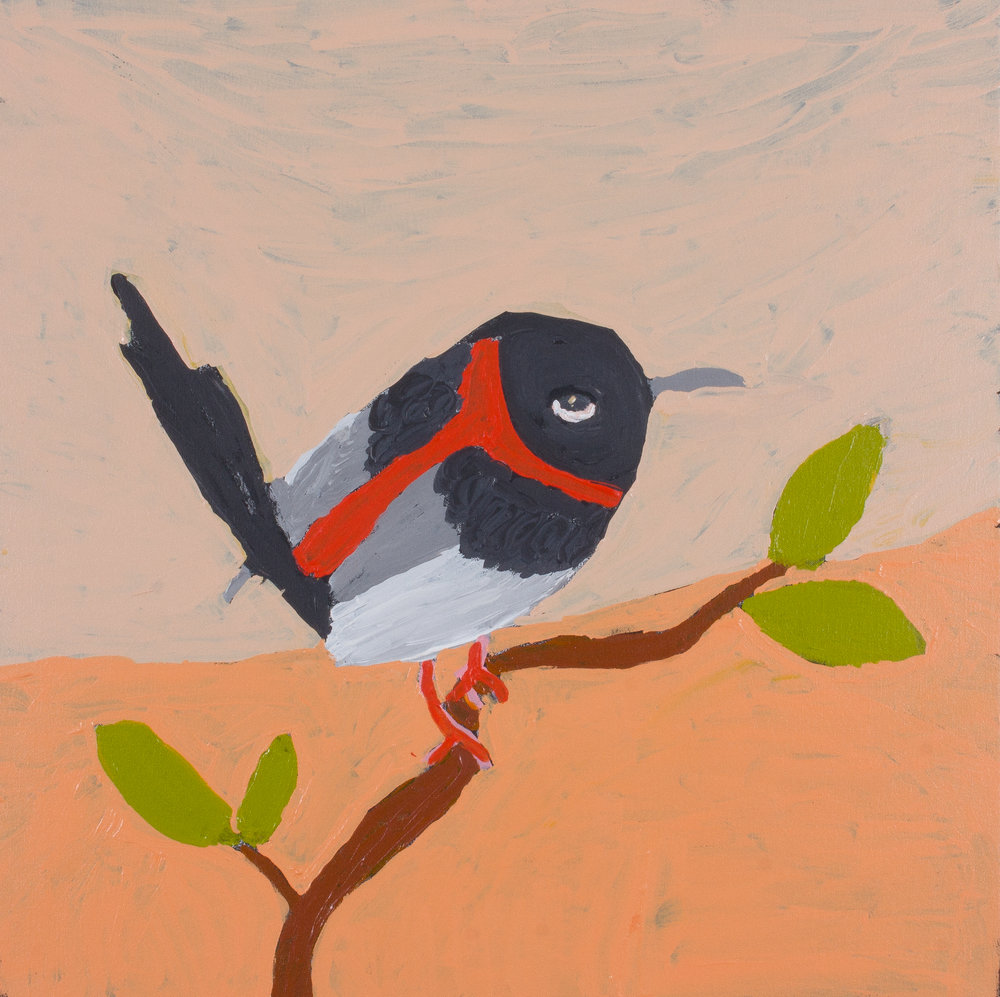 "Nyangulya Katie Nalgood  Red Capped Robin  30 x 30"" (76 x 76 cm) acrylic on linen Spinifex Hills Artists Catalog #18-265   EMAIL INQUIRY"