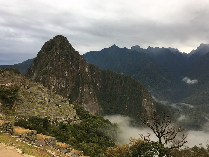 Here's Machu Picchu, surrounded by early morning fog