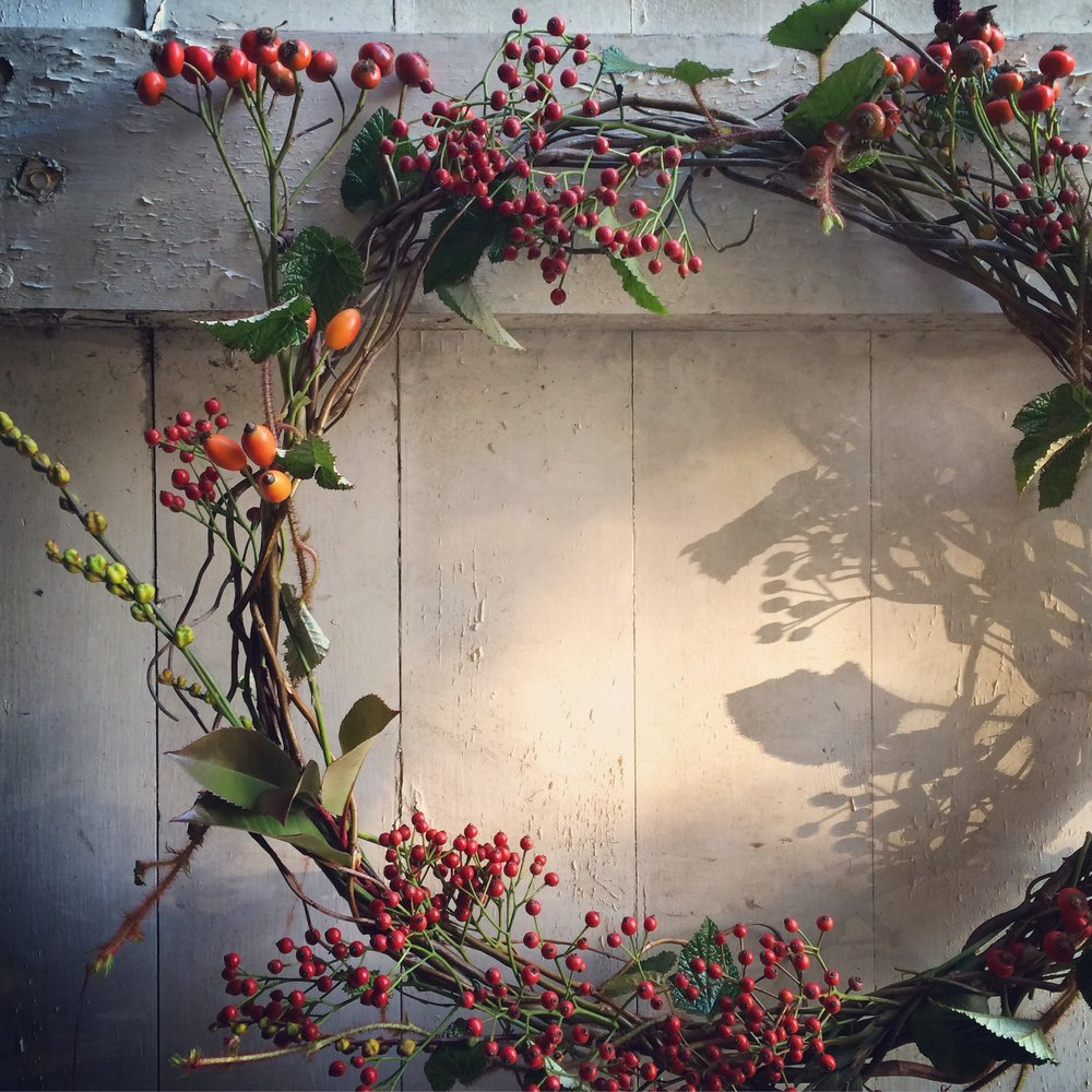 Hips, berries and willow wreath