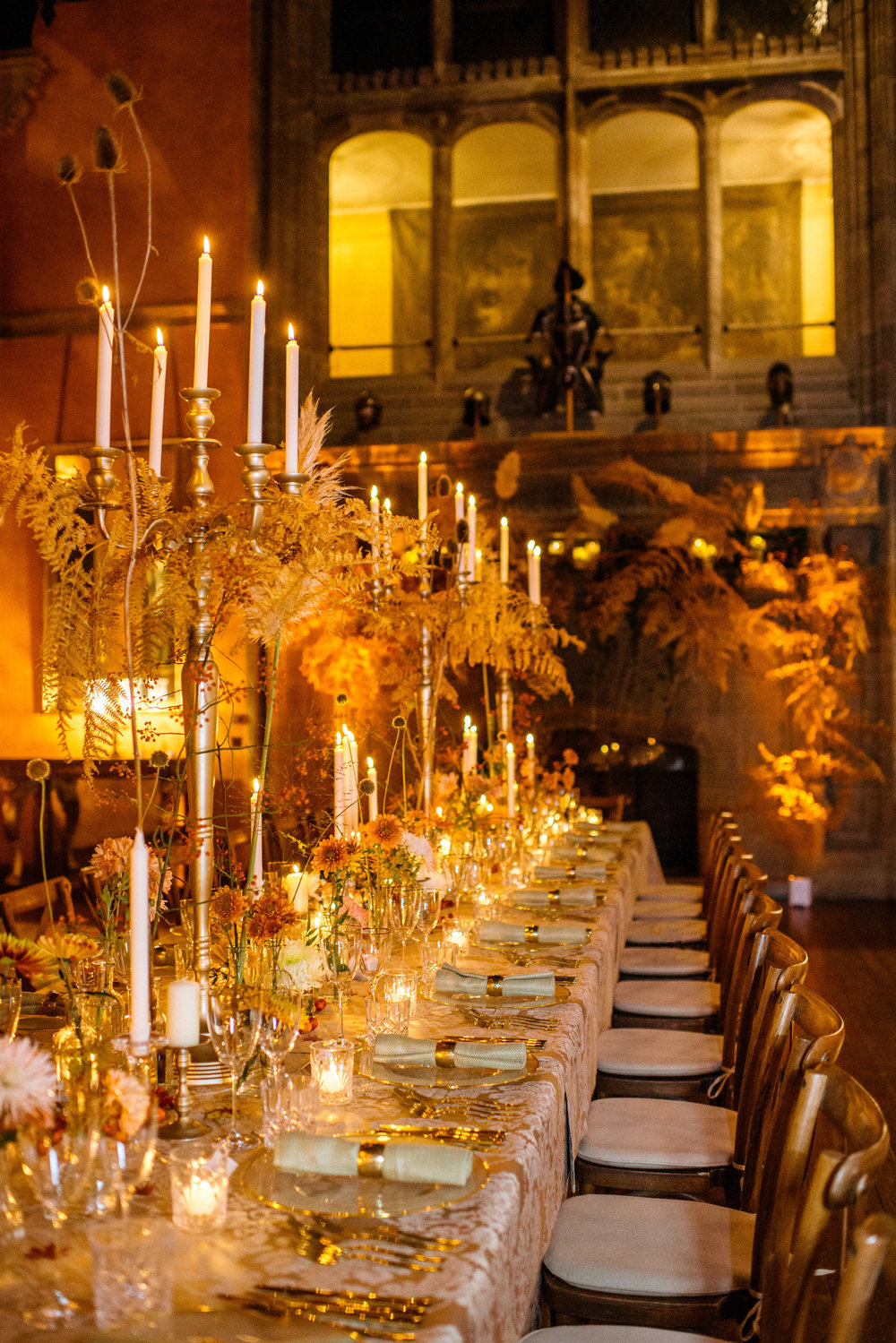 Candelabra with bracken Autumn Dinner Cowdray House