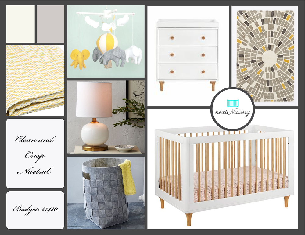 CLEAN AND CRISP NEUTRAL NURSERY      A neutral grey, white and yellow nursery which will create a clean and calm environment for your new little baby.