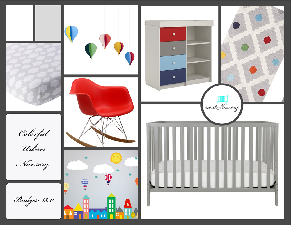 COLORFUL URBAN NURSERY    This bright and cheerful urban baby room theme is sure to bring you and your new little one plenty of joy.