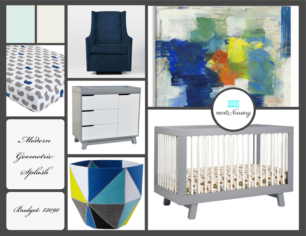 MODERN GEOMETRIC BOY NURSERY Use modern art to add a color splash to this classic yet modern baby boy nursery design.