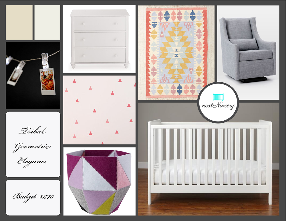 TRIBAL GEOMETRIC ELEGANCE NURSERY This simply elegant nursery will blend in perfectly with current styles and classic and playful enough to carry your baby through toddler years.