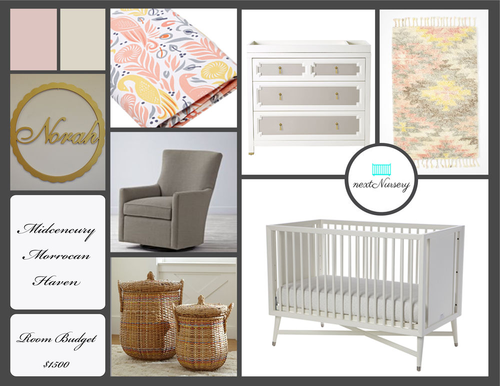 MIDCENTURY MORROCAN HAVEN   A natural and light setting for your new baby with accents of pale pink, mint green, and beige.