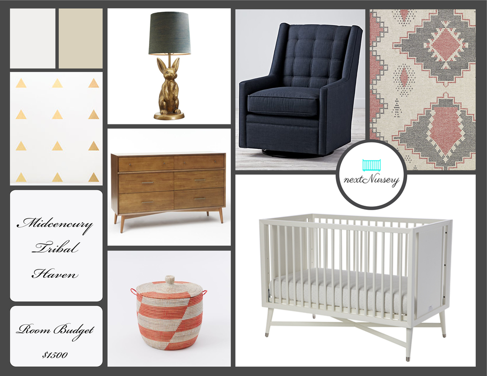 MIDCENTURY TRIBAL NURSERY   Bring Midcentury Modern design into your next nursery with these classic pieces.  The dresser and chair will easily transition into a toddler room or guestroom in the future.
