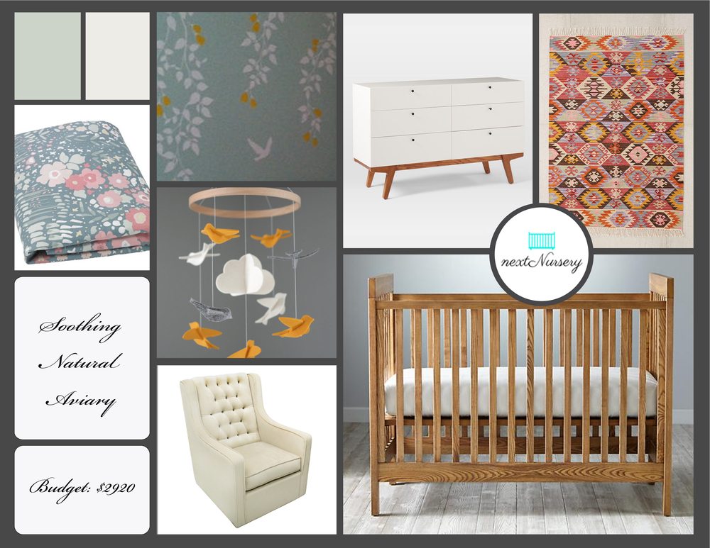 SOOTHING GIRL NURSERY    A soothing outdoor haven inside your new baby girls nursery.  Furniture pieces that will easily transition to another room after your baby becomes a toddler.