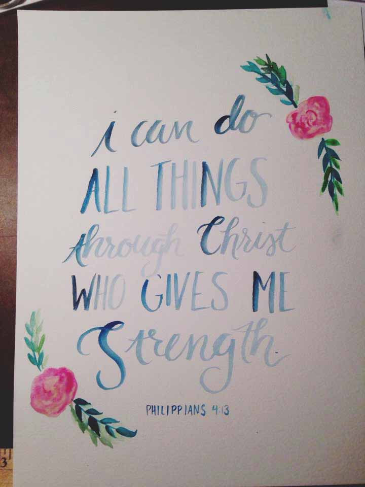 8x10 Watercolor of Philippians 4:13