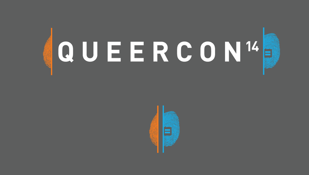 Queercon's logo included a big nod to Portal 2.
