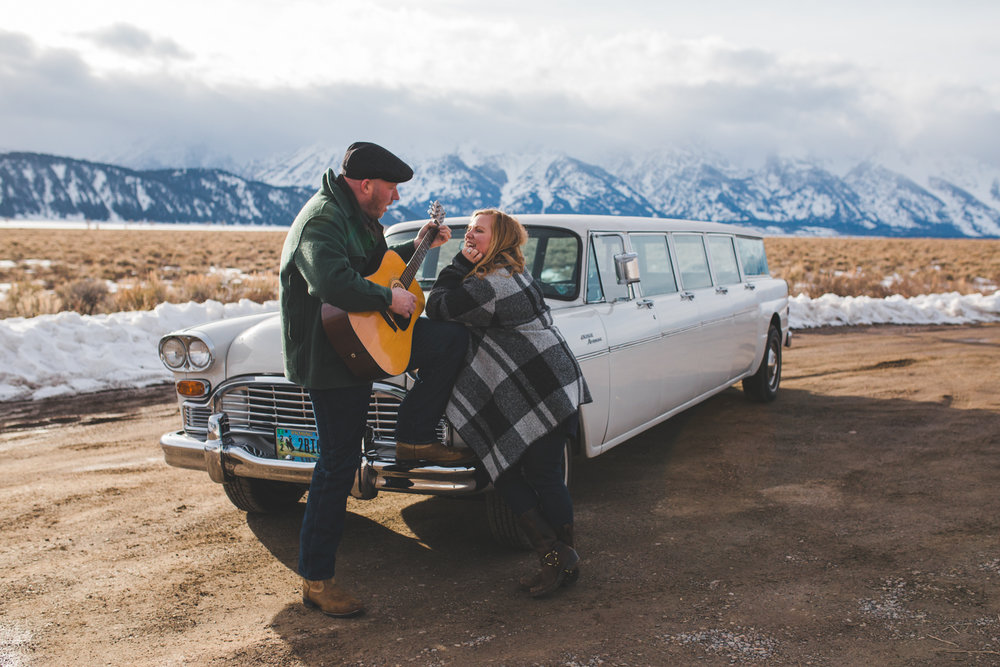 Jackson Wyoming Engagement Photography, Jackson Hole, Photographer, Engagement, Wyoming, Teton Mountains, Grand Tetons, Snow, Vintage Car, Couple, Session