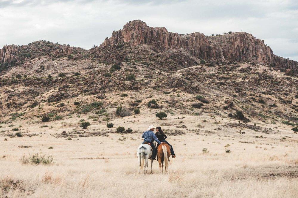 Alpine Texas Ranch Engagement | West Texas, Horseback, Cowboy, Cowgirl, Barn, Horse